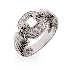 Designer Inspired Pave CZ Buckle Style Sterling Silver Ring