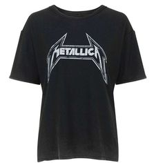 Metallica Tee by and Finally ($32) ❤ liked on Polyvore featuring tops, t-shirts, cotton t shirts, topshop, loose t shirt, cotton tee and loose fit tops