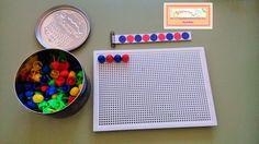 Librito para hacer series con pinchitos. Montessori Art, Task Boxes, Kids Learning Activities, Math For Kids, Card Patterns, Fine Motor Skills, Kindergarten, Preschool, Classroom