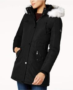 Hfx Faux-Fur-Trim Water-Resistant Coat, Created for Macy's