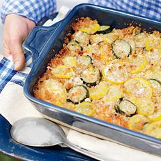Zucchini, Squash, Corn, & Sweet Onions - Casserole Recipe Video _ Soft, white breadcrumbs double as a feather-light binder and golden crumb topping in this summer casserole! - Southern Living - #Cheese #Zucchini #Squash #Casserole #Sweet_Onions #Corn