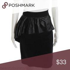 """ZARA Black Pencil Skirt w/ Genuine Leather Front ZARA  Size: XS  Measurements: Waist aligned 13.25"""" / Length 22.5""""  Style: Stretch pencil skirt with a zipper closure in the back.  The front has a genuine leather panel.    Color: Black  Condition: Good pre owned condition Zara Skirts Pencil"""