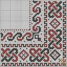 Dažādi raksti rūtiņu tehnikā - Rokdarbu grāmatas un dažādas shēmas Celtic Cross Stitch, Cross Stitch Borders, Cross Stitch Designs, Cross Stitching, Cross Stitch Embroidery, Hand Embroidery, Loom Patterns, Embroidery Patterns, Cross Stitch Patterns
