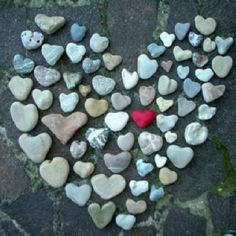 Heart-shaped rocks.