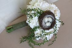 Bird Themed Wedding Bouquet  Shabby Chic by SouthernGirlWeddings, $120.00