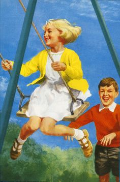 Peter pushes Jane on Swing - Play With Us, Peter And Jane