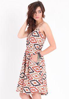 daybreak mix aztec pocket dress