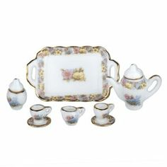 "Dollhouse Miniature Tea Set Pink and Gold by Aztec Imports, Inc.. $7.69. Hand decorated ceramic. May vary slightly. Lids are removable. Tray: 2"" x 1 3/8"""