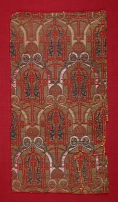 Curtain Fragment from the Alhambra Palace, mid 1300s Spain, Granada , Nasrid period silk, gilt-metal thread; lampas weave, Overall - h:48.30 w:25.40 cm (h:19 w:10 inches). Purchase from the J. H. Wade Fund 1939.35