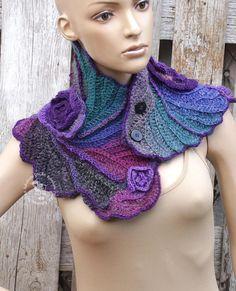 Crochet Scarf Unique cowl Woman winter fashion crochet flower