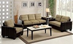 Furniture of America Nappa 3-Piece Microfiber Sofa Set, Dark Taupe