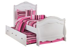 White Exquisite Twin Trundle Bed by Ashley Furniture