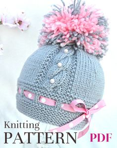 ............................. PATTERN ............................ --------------------------------------------------------------- .................... INSTANT DOWNLOAD.................. ---------------------------------------------------------------- This is a Knitting PATTERN Baby Hat ( PDF file ). Price is ONLY for the PATTERN and NOT for the finished item ! ----------------------------------------------------------------------------------------------- They are knitt...