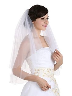 2T 2 Tier Silver AB Beaded Scallop Edge Bridal Wedding Veil  Ivory Elbow Length 30 *** Want to know more, click on the image.-It is an affiliate link to Amazon.