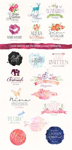 Kind of liking the watercolor designs I keep seeing. //// Really like how these logos are using watercolor. Watercolor Logo, Watercolor Design, Logo Branding, Branding Design, Logo Luxury, Inspiration Logo Design, Web Design, Photoshop, Grafik Design