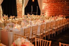 Peach, Pink and White Wedding Centerpieces with Long Feasting Tables and Gold Chiavari Chairs | NOVA 535 Wedding Reception