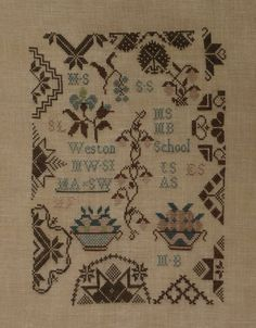 The Weston School Sampler c.1805. Collection Musée des Beaux-Arts de Philadelphie