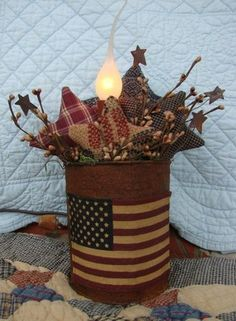 Primitive Americana Lamp in a rusty tin can with a primitive flag