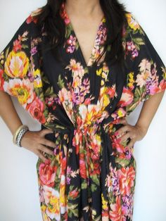 Floral Kaftan , Caftan, Perfect long dress,  For to be Moms, beach cover up, Sleepwear, Best Gift for her