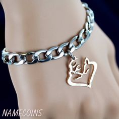 Buck and Doe Heart Bracelet, Deer Heart Jewelry, Cut coin by NameCoins