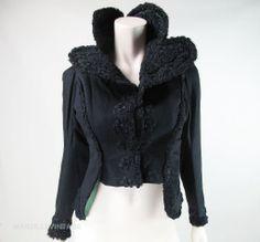 Sculptural Antique Victorian Curly Lamb, Wool & Moss Green Silk Jacket With Passementerie Trims