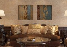 2pcs American Style Vintage Pattern Canvas painting Home decor Giclee art Wall pictures for living room Unframed