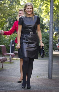 Princess Maxima rock chick look in leather outfit.