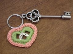 To be honest, I just love the key......  --Pop Tab Crochet Keychain Heart Green And Pink via Etsy