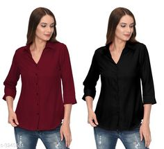 Checkout this latest Shirts Product Name: *Fashionable Contemporary Women's Polyester Solid Women's Shirts(Pack Of 2)* Fabric: Polyester Sleeve Length: Three-Quarter Sleeves Pattern: Solid Multipack: 2 Sizes: S, M, L, XL Country of Origin: India Easy Returns Available In Case Of Any Issue   Catalog Rating: ★3.8 (293)  Catalog Name: Fashionable Contemporary Women's Polyester Solid Women's Shirts Combo CatalogID_446822 C79-SC1022 Code: 405-3240581-1131