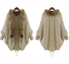 2015 de invierno abrir Cardigan Poncho capas Pull Femme mujeres del otoño moda suéter de lana de punto chaqueta de manga murciélago encogimiento de hombros atractivo HY925 en Chaquetas de Moda y Complementos Mujer en AliExpress.com | Alibaba Group