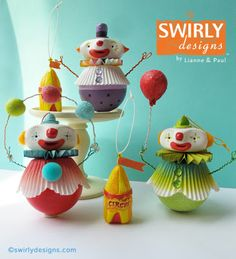 Swirly Designs by Lianne & Paul Circus Art, Circus Theme, Play Clay, Clothespin Dolls, Ideas Para Fiestas, Paperclay, Clay Dolls, Polymer Clay Crafts, Clay Creations