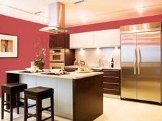 Modern Confident Red Kitchen Walls