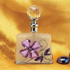 Beautiful Purple Four Leaf Dragonfly Perfume Bottle with Crystal Stopper