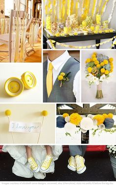 Yellow and Grey Wedding Inspiration I love the converse shoes! Can do with yellow slip on vans. What do you think Jackie Fritz ? Yellow Grey Weddings, Gray Weddings, Wedding Color Schemes, Wedding Colors, Wedding Flowers, Wedding Themes, Wedding Designs, Wedding Decorations, Chic Wedding