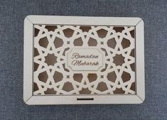 This wooden laser cut box with engraving Ramadan/Eid Mubarak is a wonderful present by itself. It can be used for sweets, spa products or perfume and given as a luxury gift. Any Eid gift will look exclusive in this box! Islamic Decor, Islamic Gifts, Ramadan Gifts, Ramadan Mubarak, Ramadan Decorations, Star Decorations, Laser Cut Plywood, Laser Cut Box, Islam For Kids