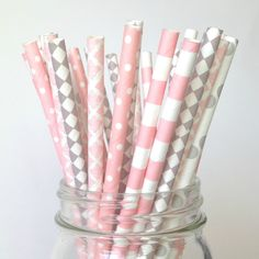 Blush Pink and Gray Baby Shower Straws Free Shipping on TwigandTwirls.com