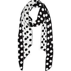 Black polka dot scarf