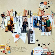 Happy Halloween - by Paige Evans using product from American Crafts. #halloween #americancrafts #scrapbooking #thickers