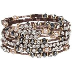 Breathtaking Hematite and Clear Crystal on Chocolate Gold Finish Wrap Bracelet with Faux Pearl Accents #Jewelry #Bangles #Necklace #Rings #Bangles #Style #Stylish #Fashion #Fashion #Streetfashion #Teensfashion