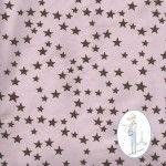 Tissu étoiles chocolat sur fond vieux rose  613