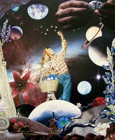 """Collage-a-Dada / Collage Dreamscapes by Shawn Marie Hardy, """"Harvest"""", Analog Collage, 38 Handcut Pieces, 11.5 x 14"""",  2017, #Collage #Dreams #Surrealism #Dada #ScienceFiction #OuterSpace"""