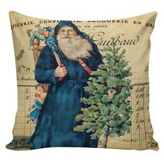Christmas Pillow Vintage Holiday Santa French Style Burlap Cotton Throw Pillow Cover CH-146 Elliott Heath Designs