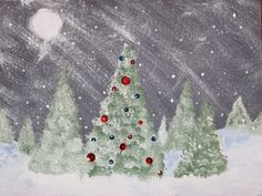 Imagine a cold, winter evening with snow flurries blowing through a field of fir trees. Imagine one of those trees beautifully decorated, though no one is there to see it. For this project we are going to paint this imaginary scene. Seeing decorated ...