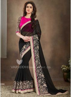 Classy Black Faux Georgette Patch Border Work Designer Saree. Pair With Matching Designer Pure Georgette Blouse.   http://www.angelnx.com/Sarees/Designer-Sarees/classy-black-faux-georgette-patch-border-work-designer-saree_10336