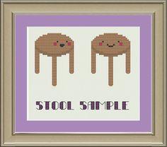 Stool sample: funny cross-stitch pattern on Etsy, $3.00