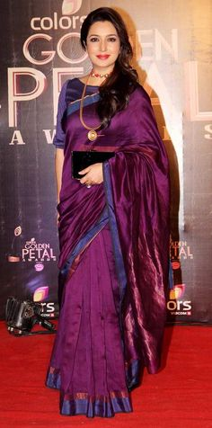 Tisca Chopra at the third edition of the Colors Golden Petal Awards. LOVE THE RICH COLOR!