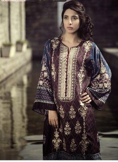 3654b041c4 Pakistani Model Urwa Hocane Latest Pictures Images for Maria B Winter Linen  2015 dresses collection. Long shirts with wool shawl for girls wear.