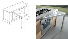 <b>Tavolo Ruotabile</b><br/>E' una soluzione di servizio che aumenta la superficie disponibile solo quando è necessario. Il grande vantaggio di questa soluzione progettuale è che una volta usato e riposto, non occupa spazio.