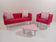 Barbie Furniture - 1:6 Scale (Playscale) Modern Pink Animal Print 6 Piece Living Room Set.. $45.00, via Etsy.