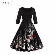 ZAFUL ברבור שחור אלגנטי צוואר V שמלת וינטג 'הדפסת 50 s 3/4 חגורות רוכסן צד Swing רטרו גבוה מותן שרוולים Feminino Vestidos
